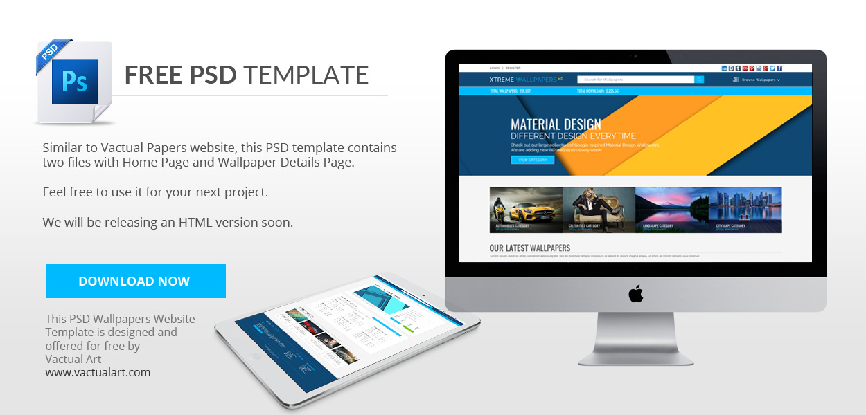 Download Free PSD Wallpapers Website Template