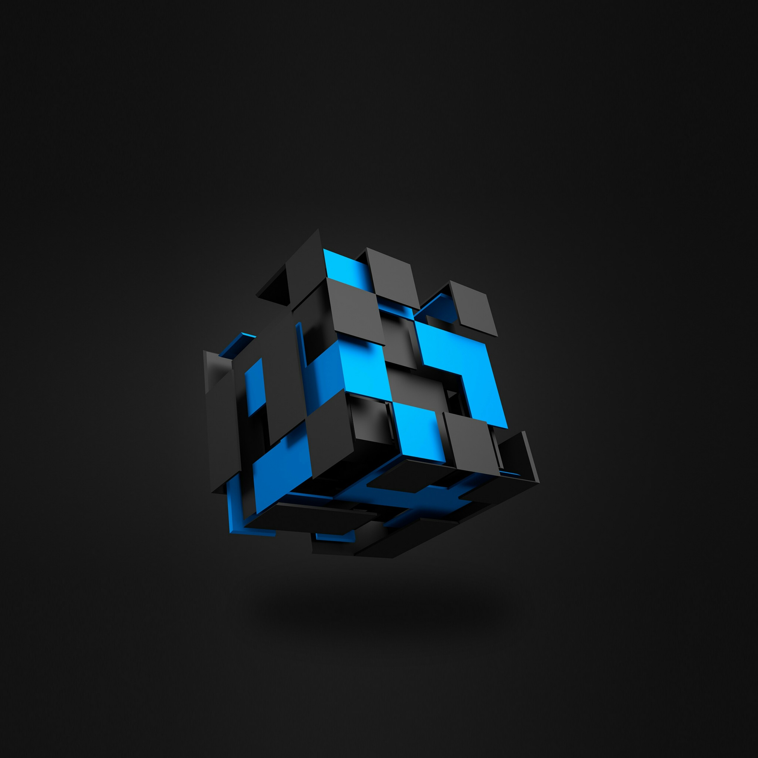 3D Cube In Black And Blue Abstract QHD Wallpaper 2560x2560