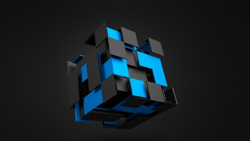 3D Cube In Black And Blue Abstract QHD Wallpaper