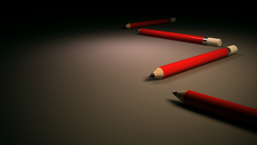 3D Rendering Of Four Red Pencils HD Wallpaper