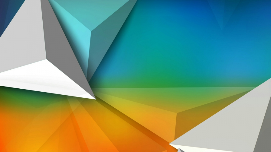 A 3D Pattern In White Orange And Blue Abstract QHD Wallpaper