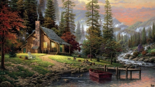 A Beautiful Cottage In The Valley Artistic Work Paintings 2560x1600 QHD Wallpaper 77