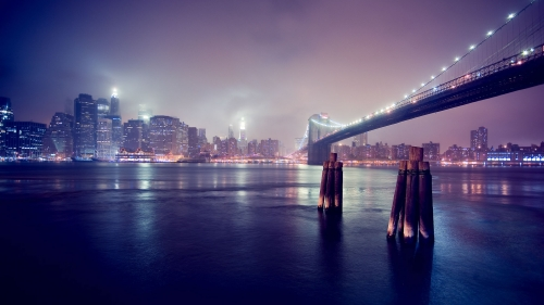 A Beautiful Foggy Night Over The Citys   Nature HD Wallpaper