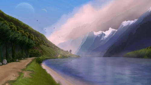 A Beautiful Lake Artistic Work Paintings 2560x1600 QHD Wallpaper 5