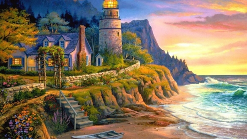 A Beautiful Light House Artistic Work Paintings 2560x1600 QHD Wallpaper 63