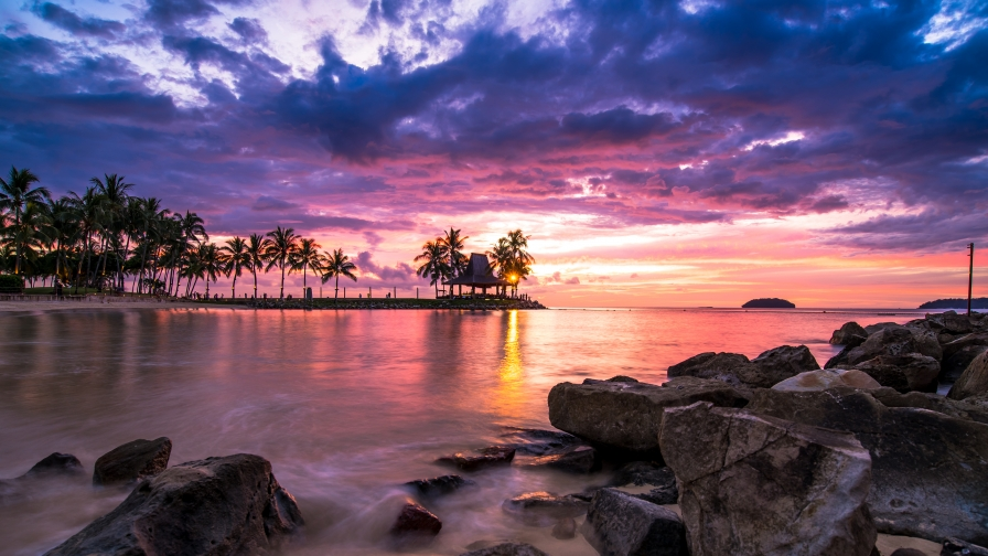 A Beautiful Sunset By The Beach Nature Landscape 4K Wallpaper