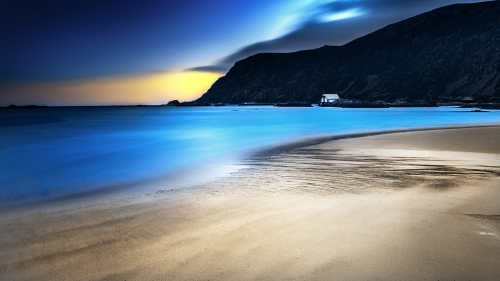 A Blue Night By The Sea Nature HD Wallpaper