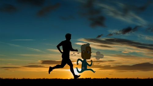 A Cartoon Character Running With A Human Creative QHD Wallpaper