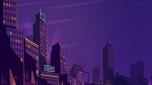A City At Night Vector QHD Wallpaper