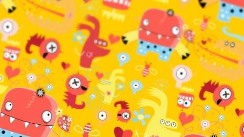 A Collage Of Monster Characters Vectors QHD Wallpaper