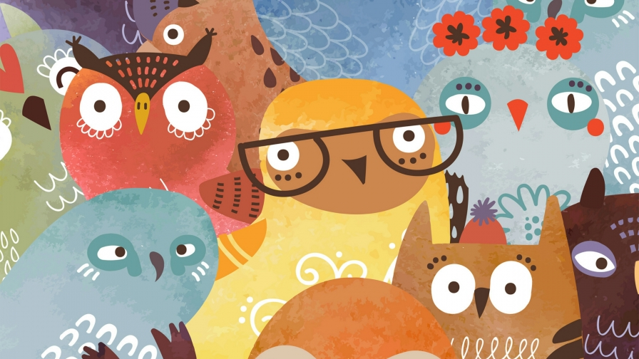 A Collage Of Owl Characters Vector QHD Wallpaper