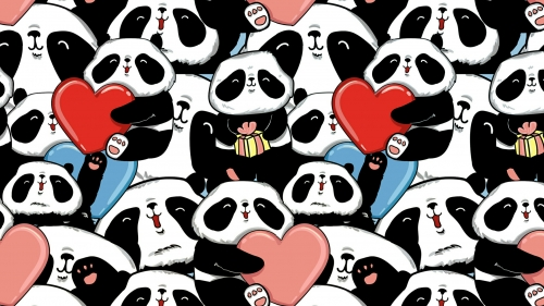 A Collage Of Pandas Holding Hearts And Presents Valentines Day Events QHD Wallpaper