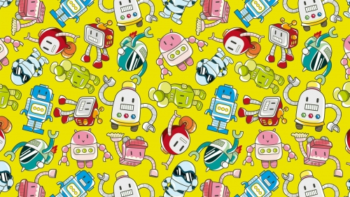 A Collage Of Robot Cartoons Vector QHD Wallpaper