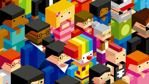 A Colorful Collage Of Lego Characters Vector QHD Wallpaper