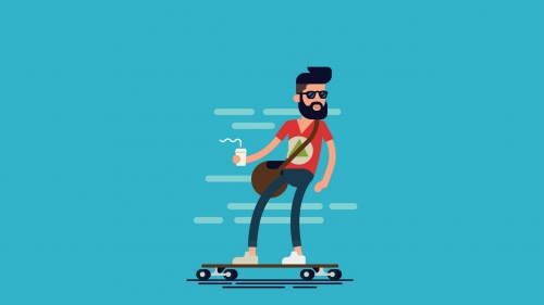 A Cool Character Skateboarding With Coffee In His Hand Vector QHD Wallpaper