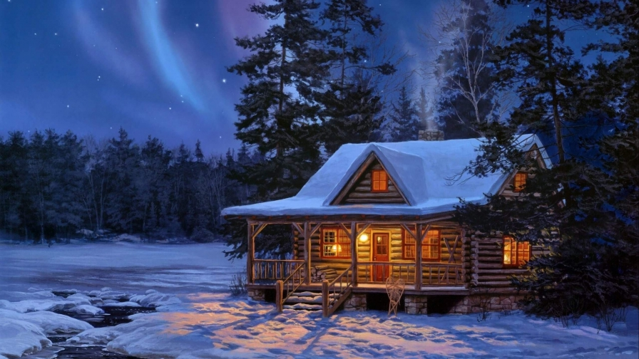 A Cottage At Night Artistic Work Paintings 2560x1600 QHD Wallpaper 69