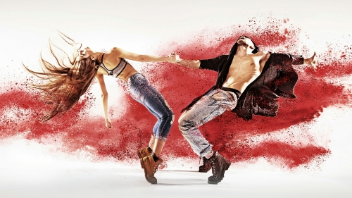 A Couple Dancing With Colors Splashing In The Background Creative QHD Wallpaper