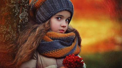 A Cute Girl With Red Berries   Photography HD Wallpaper