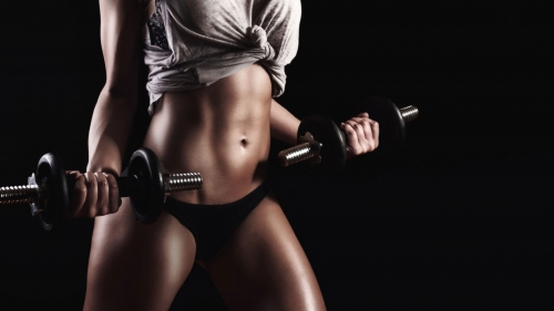 A Fitness Model Posing With Dumbells Health HD Wallpaper