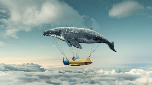 A Flyin Whale Carrying A Plane Fantasy QHD Wallpaper