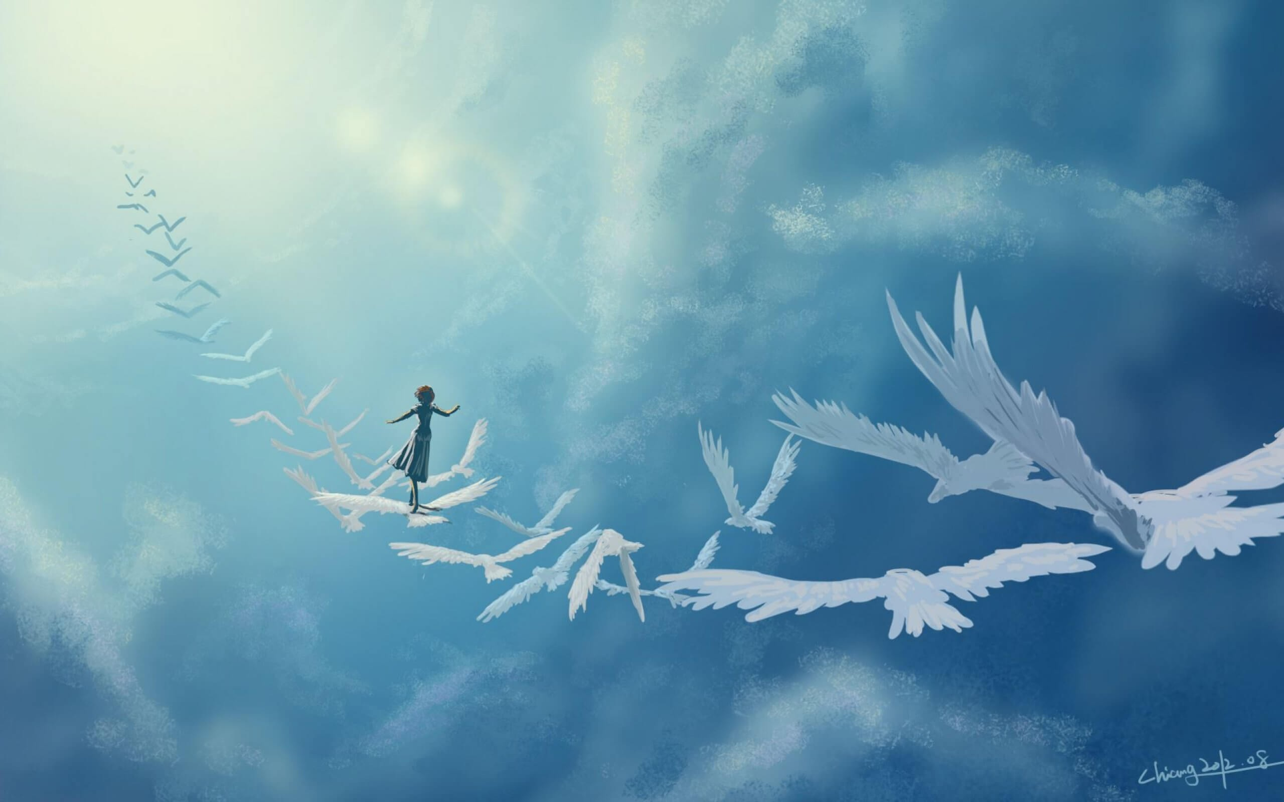 A Girl Flying On The Wings Of Birds Artistic Work Paintings 2560x1600 QHD Wallpaper 9