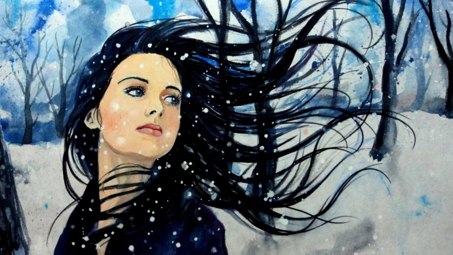 A Girld Wearing Black In Snow Artistic Work Paintings 2560x1600 QHD Wallpaper 58