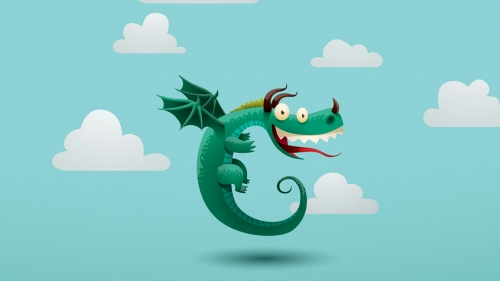 A Happy Flying Dragon Vector QHD Wallpaper
