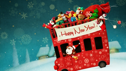 A Happy New Year Bus Driven By A Monkey Carrying Presents Events QHD Wallpaper