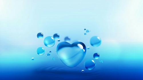 A Heart Bubble In Blue Valentines Day Events QHD Wallpaper