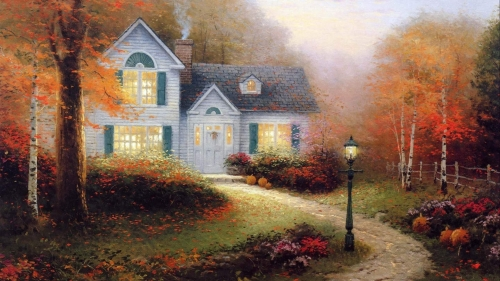 A House In The Woods Artistic Work Paintings 2560x1600 QHD Wallpaper 85