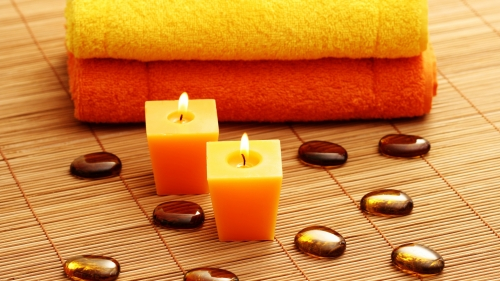 A Perfect Spa Outing Towels Candles Stones HD Wallpaper