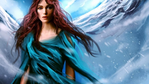 A Red Hair Girl Wearing Blue Dress Artistic Work Paintings 2560x1600 QHD Wallpaper 33