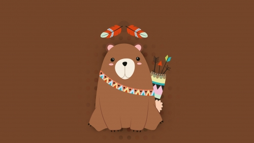 A Red Indian Bear Ready To Hunt Vector QHD Wallpaper