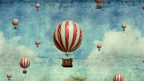 A Set Of Flying Baloons Fantasy QHD Wallpaper