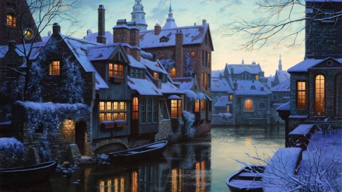 A Snowy Town By The River Artistic Work Paintings 2560x1600 QHD Wallpaper 57