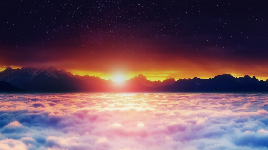 A Sunset Above The Clouds Nature QHD Wallpaper