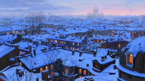 A Town Coverd In Snow Artistic Work Paintings 2560x1600 QHD Wallpaper 59