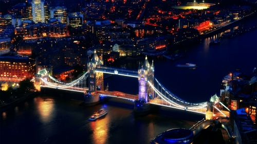 A View From Top London Bridge At Night Cityscape QHD Wallpaper
