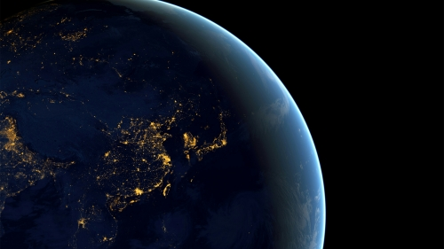 A View Of The Earth From Space At Night Fantasy QHD Wallpaper