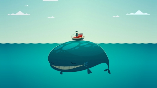 A Whale Under A Boat Vector QHD Wallpaper