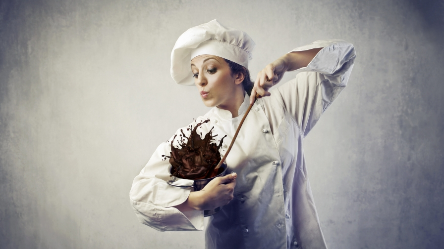 A Woman Chef Mixing Chocolate UHD Wallpaper