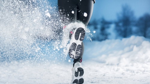 A Woman Wearing Black Running In The Snow Health HD Wallpaper