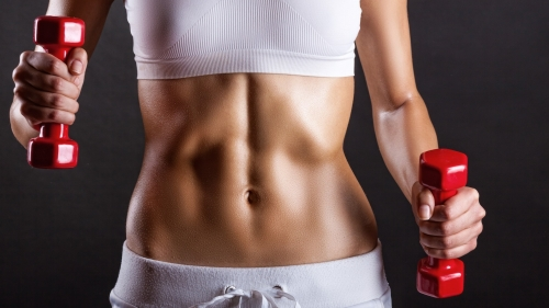 A Woman Wearing White Lifting Red Dumbells For Ab Training Health HD Wallpaper 2