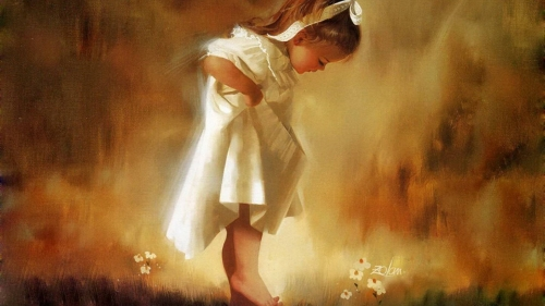 A Young Girl Finding Wild Flowers Artistic Work Paintings 2560x1600 QHD Wallpaper 36