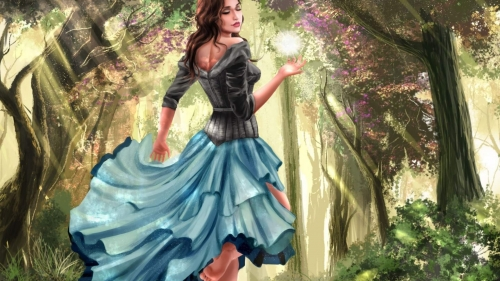 A Young GIrl In The Woods Artistic Work Paintings 2560x1600 QHD Wallpaper 71
