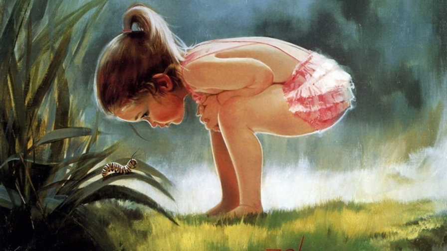 A Young Girl Playin In The Woods Artistic Work Paintings 2560x1600 QHD Wallpaper 32