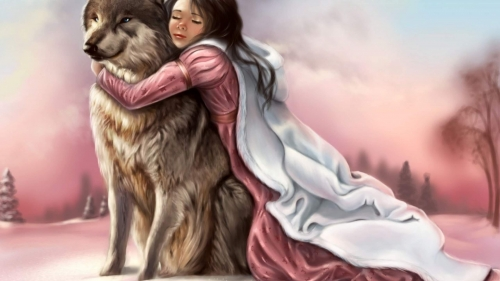 A Young Girl With A Wolf Artistic Work Paintings 2560x1600 QHD Wallpaper 18