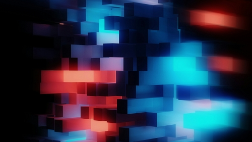 Abstract 3D Cubes In Red And Blue Abstract QHD Wallpaper
