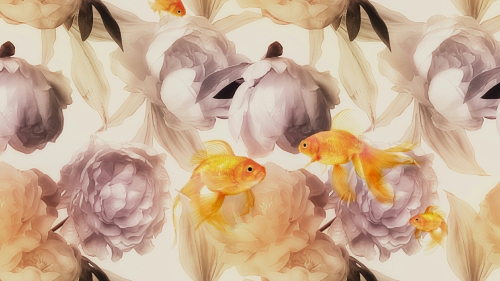 Abstract Collage Of Flowers And Fish Abstract QHD Wallpaper