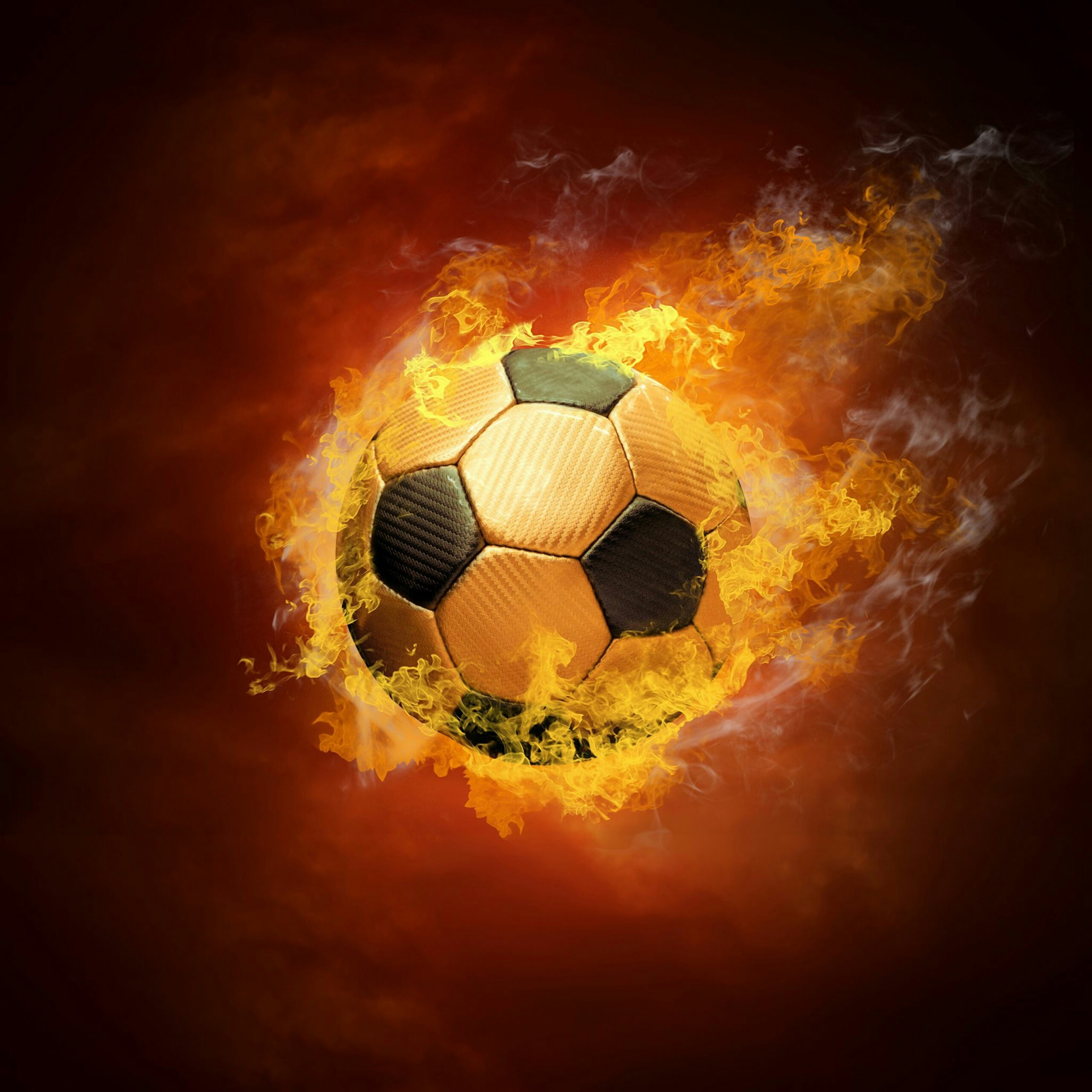 Ball On Fire Soccer Football Sports QHD Wallpaper